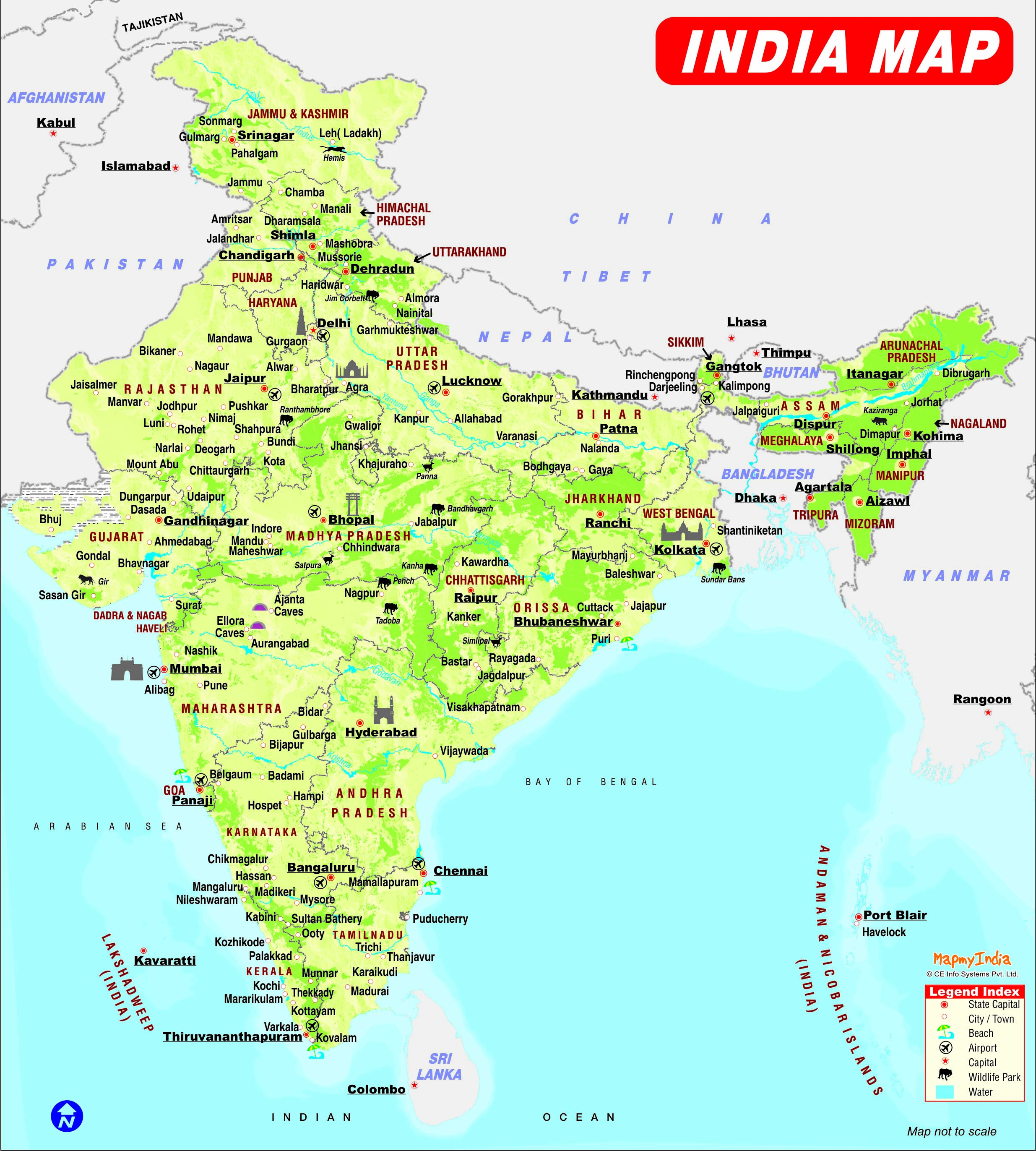 Maps of Delhi – South India Map With Tourist Places